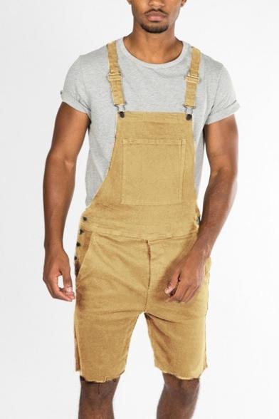 Mens Vintage Solid Color Frayed Hem Fitted Denim Overalls Shorts