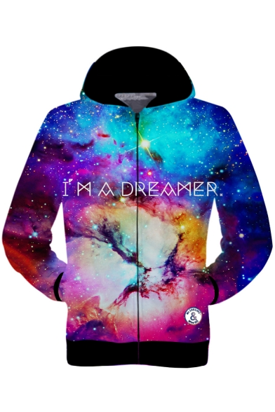 New Fashionable Colorblocked 3D Starry Galaxy Printed Long Sleeve Unisex Sport Zip Up Hoodie