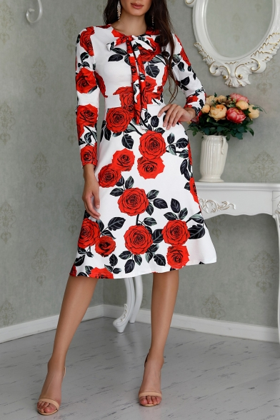 Baycheer / New Stylish Floral Print Round Neck Long Sleeve Bow-Tied Detail Midi A-Line White Dress