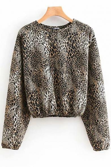 New Stylish Women's Leopard Print Round Neck Long Sleeve Elastic Hem Slim Fit Khaki Sweatshirt