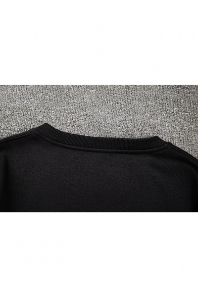 New Trendy Patched Letter Zip Pocket Long Sleeve Round Neck Sweatshirt