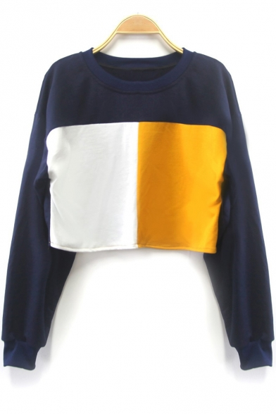 New Trendy Round Neck Long Sleeve Colorblock Casual Cropped Sweatshirt