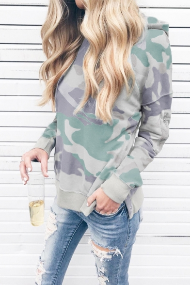 Stylish Camouflage Printed Split Side Long Sleeve Casual Loose Pullover Hoodie for Women