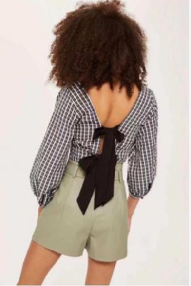 Stylish Plaid Pattern V-Neck Bow-Tied Back Chic Ruffled Hem Cropped Blouse