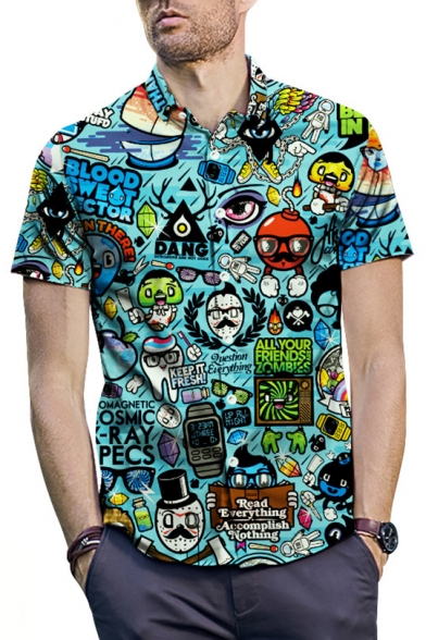 Summer Funny Cartoon Graffiti Short Sleeve Blue Casual Shirt for Men