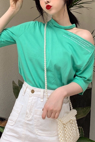 Summer Girls Simple Letter Printed Cold Shoulder Short Sleeve Casual Loose T-Shirt