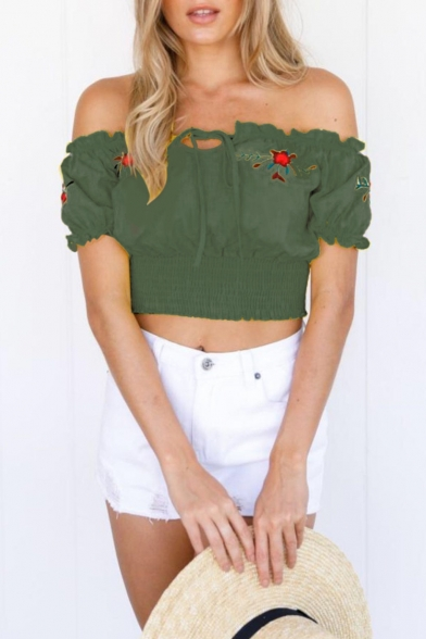 Summer Retro Floral Embroidery Tied Off the Shoulder Short Sleeve Cropped Blouse Top