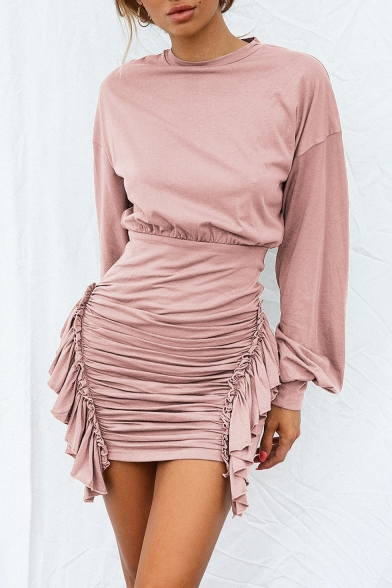 Unique Fashion Round Neck Long Sleeve Simple Plain Ruffled Sash Detail Mini Bodycon Dress