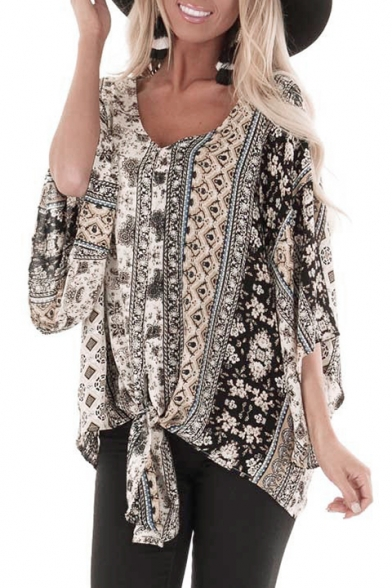 Vintage Tribal Printed V-Neck Batwing Sleeve Knotted Hem Casual Chiffon Blouse Top