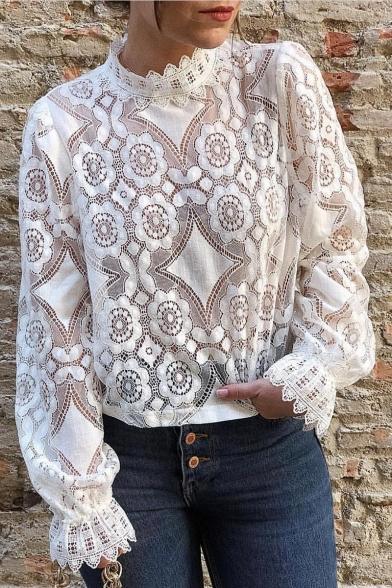 Women's New Stylish Simple Plain Stand Collar Long Sleeve Sheer Lace Blouse Top