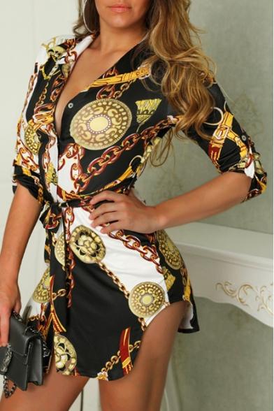 Women's New Trendy Chain Print V-Neck Half Sleeve Tie Waist Mini A-Line Black Dress