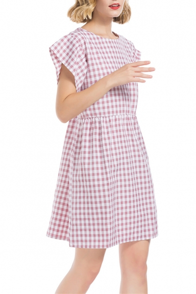 Women's New Trendy Plaid Print Short Sleeve Round Neck Mini Babydoll Pink Dress