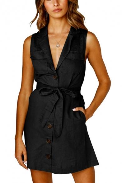Women's Summer Simple Plain Notched Lapel Collar Sleeveless Bow-Tied Waist Button-Down Mini A-Line Dress