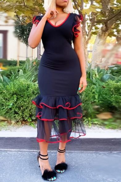 Women's V Neck Contrast Trim Ruffle Mesh Patchwork Navy Midi Bodycon Dress