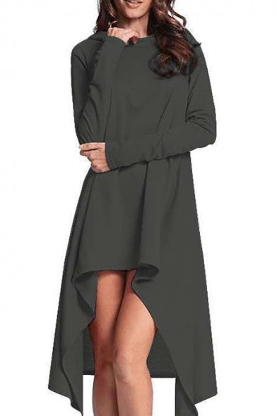 Womens New Fashion Simple Plain Long Sleeve High Low Hem Asymmetrical Hooded Dress