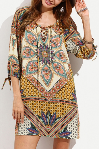 Womens Retro Tribal Printed Lace-Up V-Neck Three-Quarter Sleeve Mini Casual Shift Dress