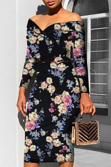 Womens Sexy V Neck Long Sleeve Floral Print Midi Bodycon Dress