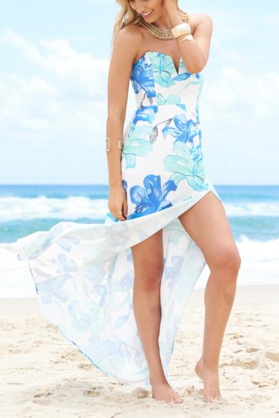 Womens Summer Trend Floral Striped Pattern V-Neck Strapless Split Front Maxi Beach Dress