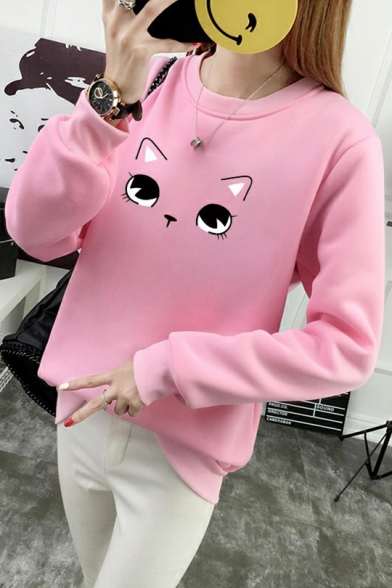 Cartoon Lovely Eyes Printed Round Neck Long Sleeve Sweatshirt