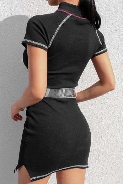 Cool Contrast Piping High Neck Short Sleeve Split Side Mini Bodycon Black Dress