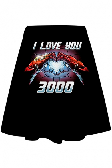 Cool Iron Hand Heart Letter I LOVE YOU 3000 Black Mini A-Line Skirt