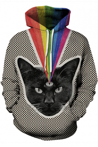 Fashion Rainbow Cat 3D Print Colorblock Drawstring Hood Plaid Long Sleeve Unisex Hoodie