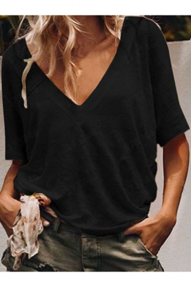 Fashion Simple Solid Color V-Neck Short Sleeve Casual Loose T-Shirt