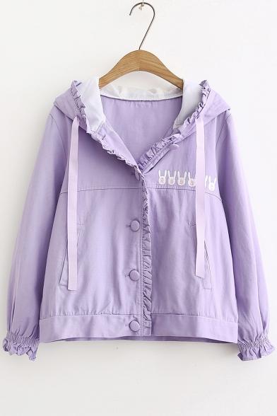 Girls Lovely Cartoon Rabbit Hooded Long Sleeve Ruffled Button Down Coat