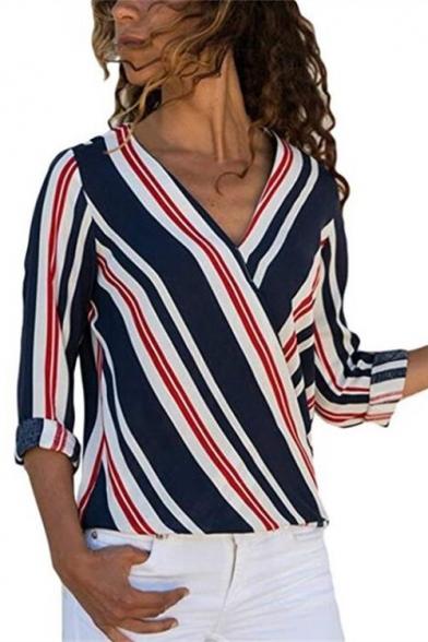 Hot Popular Surplice V-Neck Long Sleeve Striped Chiffon Blouse Top