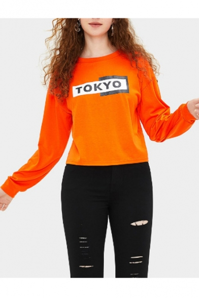 Hot TOKYO Letter Print Round Neck Long Sleeve Orange Pullover Sweatshirt