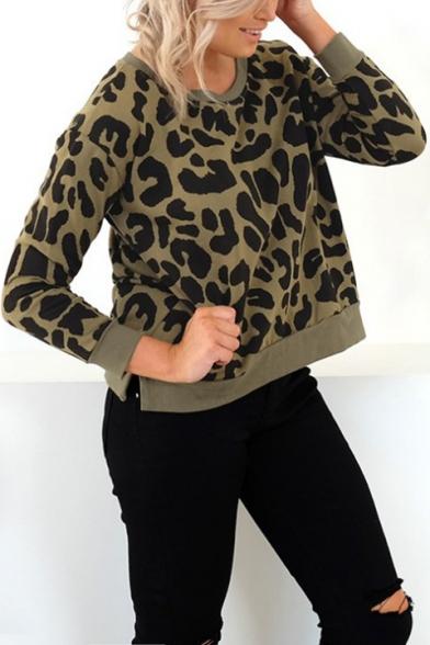 Hot Women's Leopard Printed Round Neck Long Sleeve Split Hem Pullover Army Green Sweatshirt