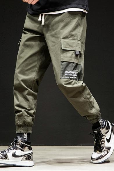 Mens New Stylish Letter Pocket Side Drawstring Waist Elasticized Cuff Loose Casual Cargo Pants