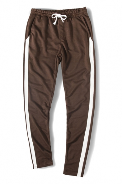 Mens New Trendy Drawstring Waist Striped Side Casual Loose Cotton Joggers Pants