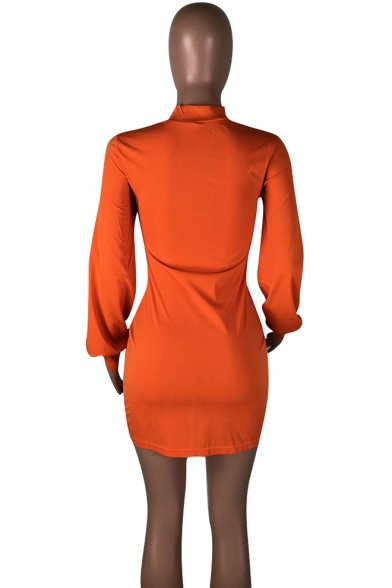 New Arrival Orange Mock Neck Lantern Sleeve Drawstring Mini Bodycon Dress