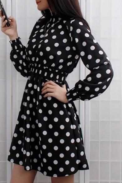 New Trendy Polka Dot Leopard Pattern Long Sleeve Stand Collar Mini A-Line Dress