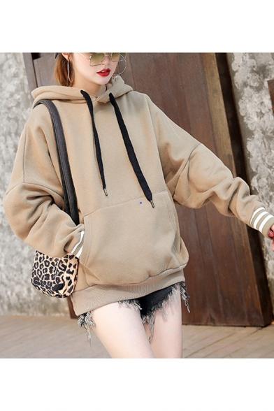 New Women's Drawstring Hood Stripe Contrast Trim Long Sleeve Loose Fit Hoodie with Pocket