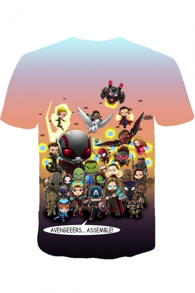 Popular Cartoon Comic Character 3D Printed Round Neck Short Sleeve T-Shirt
