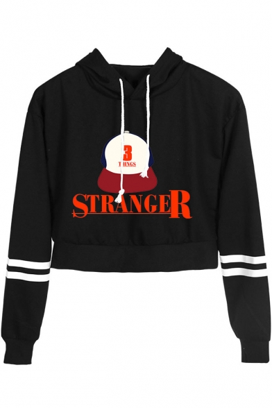 Stranger Things Letter Hat Printed Stripe Long Sleeve Cropped Hoodie