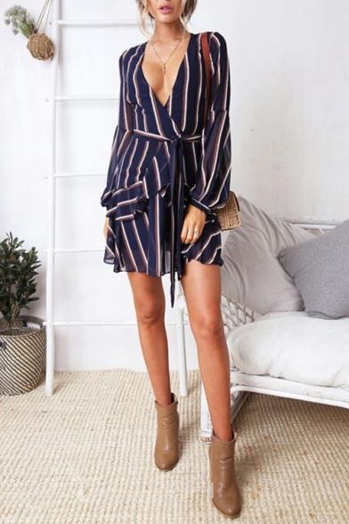 Summer Chic Navy Striped Pattern V-Neck Long Sleeve Tied Waist Mini A-Line Dress