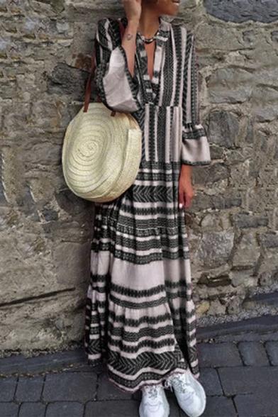 Summer Fashion Tribal Pattern V-Neck Bell Sleeve Maxi Holiday Beach Linen Dress for Women