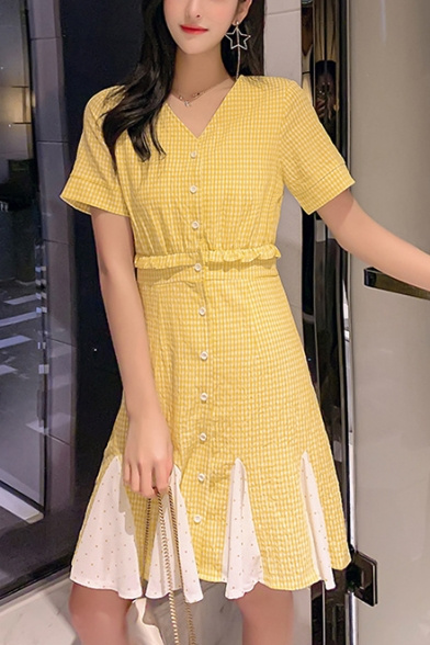 Summer Girls Yellow Plaid Printed V-Neck Short Sleeve Patched Hem Button Front A-Line Dress