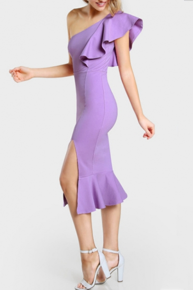 Summer Trendy One Shoulder Chic Ruffled Hem Simple Plain Split Front Midi Bodycon Fishtail Dress