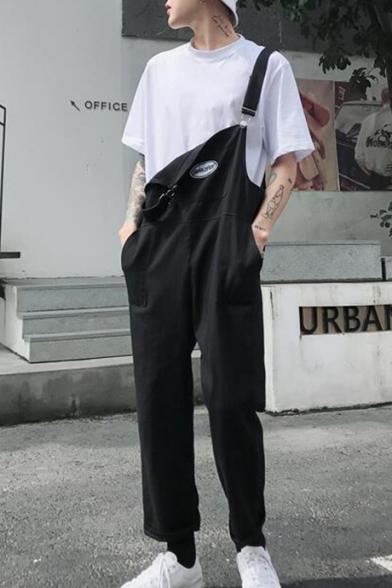 Trendy Simple Plain Black Casual Straight Fit Bib Overalls Pants