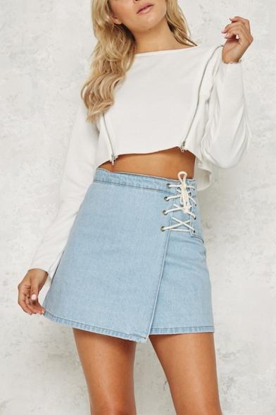 Women's Cool Double Zipper Front Round Neck Long Sleeve Simple Plain White Cropped Sweatshirt