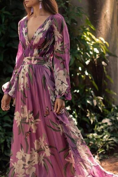 Women's Elegant V-Neck Long Sleeve Floral Printed Length Floor Swing Purple Dress