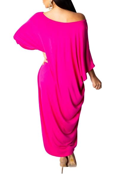 Women's Fashion One Shoulder Bat Sleeve Plain Loose Maxi Shift Dress