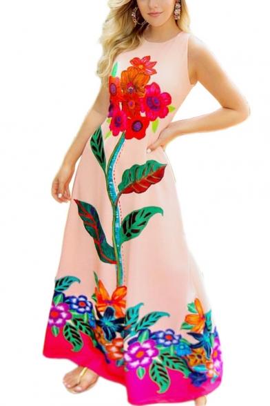 Women's Fashion Sexy Round Neck Sleeveless Floral Printed Maxi Tank Pink Dress