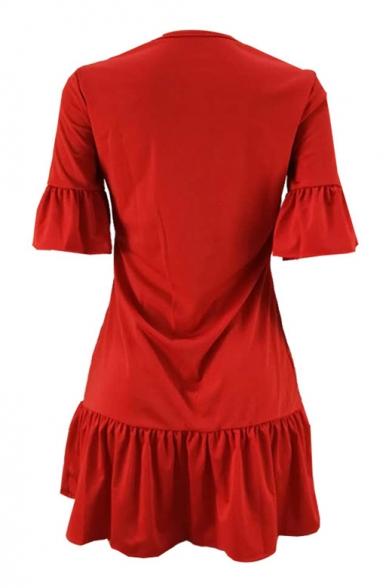 Women's Hot Fashion Cute Cartoon Bear Print Round Neck Ruffle Short Sleeve Sequined Detail Mini Red Dress