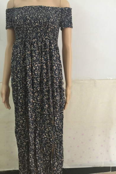 Women's Hot Fashion Off The Shoulder Short Sleeve Floral Printed Belted Split Side Maxi A-Line Dress