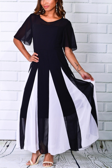 Women's Hot Fashion Round Neck Short Sleeve Colorblock Printed Maxi Swing Dress
